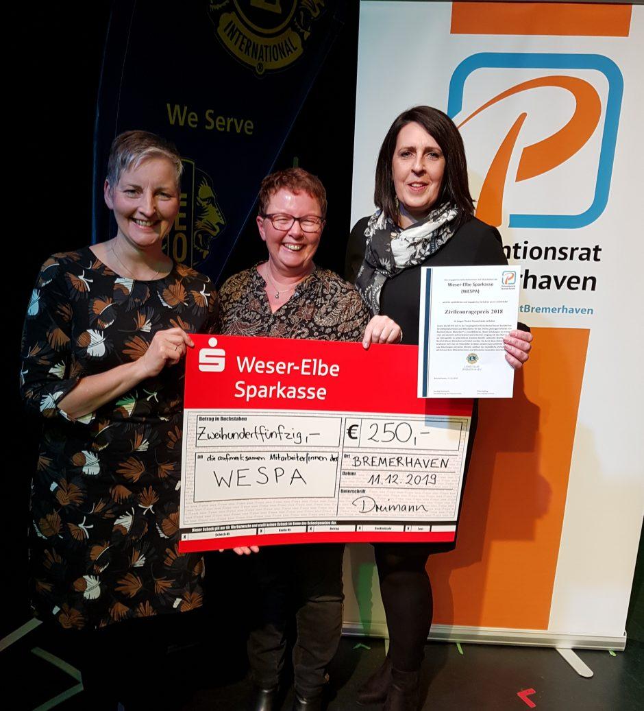 Weser-Elbe Sparkasse (WESPA) gewinnt Zivilcouragepreis 2018